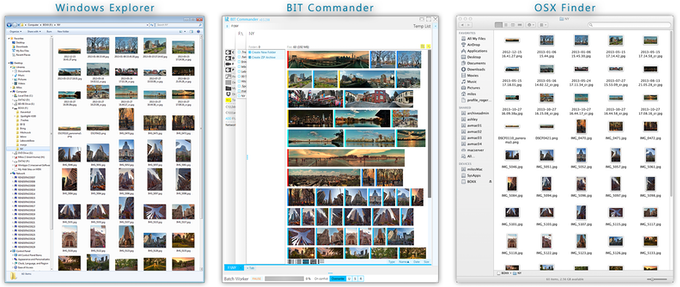 Comparison of different file browsers showing the same folder with images