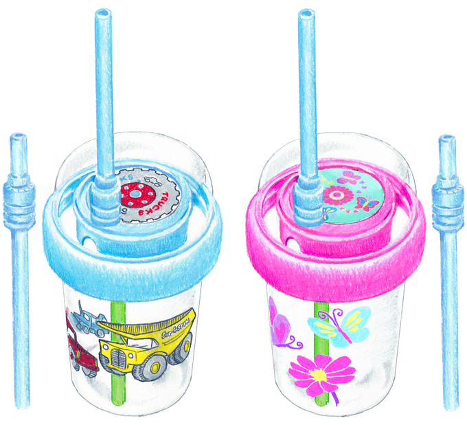 Sip & Spin™ Cup Sketch - Blue Trucks style and Pink Butterflies style, with bonus Snappy Straw™ on the side. Choose one style for this reward.
