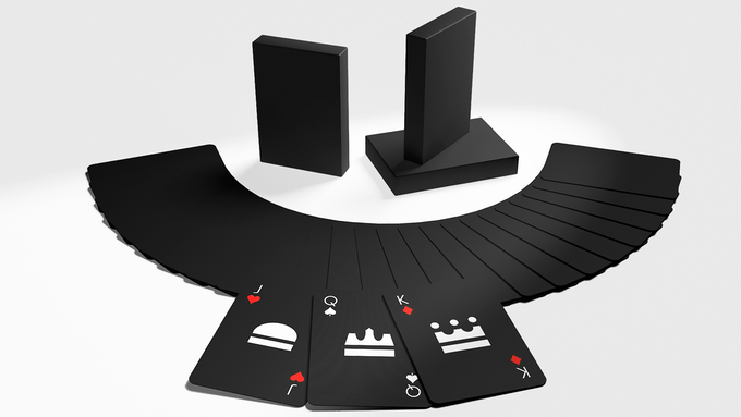 The All Black Standard Playing Card Deck. Click to enlarge.