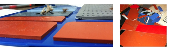 Tests of different adhesives and various thicknesses and durometers of silicone rubber.
