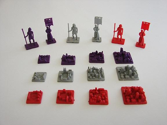 3 colors of Civilization settlement units