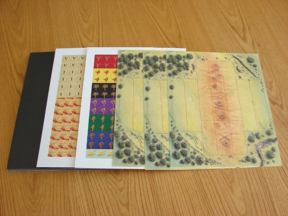 Battle boards (right) and Struggle of Empires punch sheets