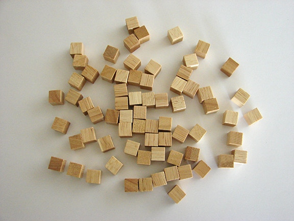 Natural wood cubes (colored cubes are the same size)