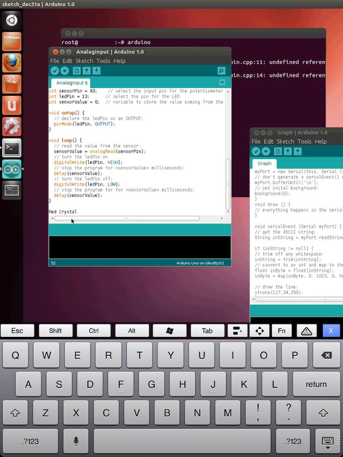 IPAD connects to Crystal Board using PocketCloud, a VNC app