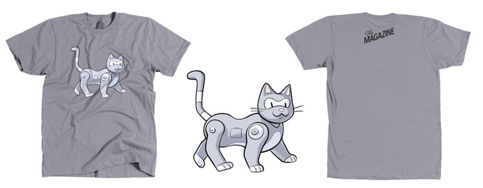 Dylan Meconis' robo-cat T-shirt produced by United Pixelworkers — exclusive!