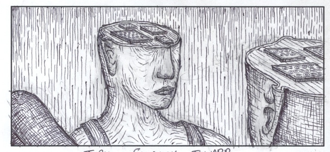 An image from the storyboard for the film