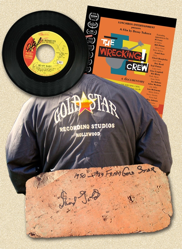 """Gold Star Studio memorabilia package consisting of a """"Be My Baby"""" 45 signed by Ronnie Spector, Hal Blaine and Bill Pitman; a Gold Star jacket; a brick from the Gold Star Studio building signed by Dave Gold; a Wrecking Crew poster and DVD"""