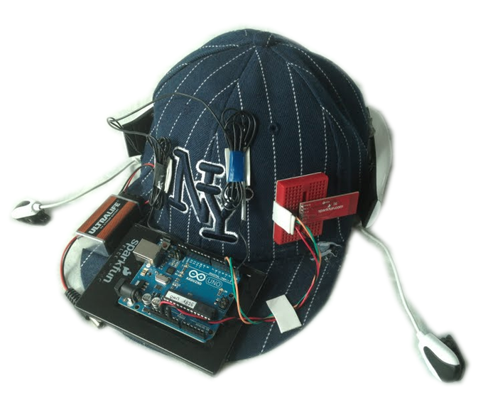 Conor's BrainCap that he created while taking Physical Computing w/ Joel