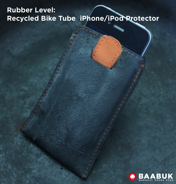 Same as the purse, we have done an iPhone 4 & 5 / iPod protector from recycled bike rubber. We have used the inside of the tire outside. It's stylish and your iPhone/iPod will love the new look.