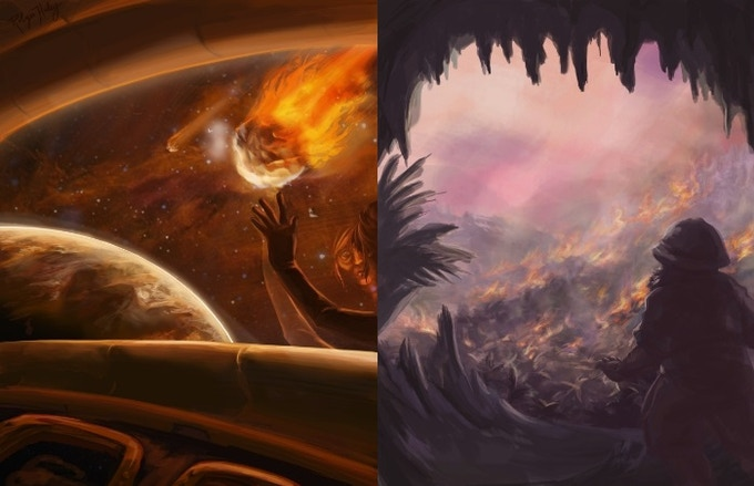 The End #4 & #5 Cover:  Issue 5 will feature a comet in the pink sky in the final version)