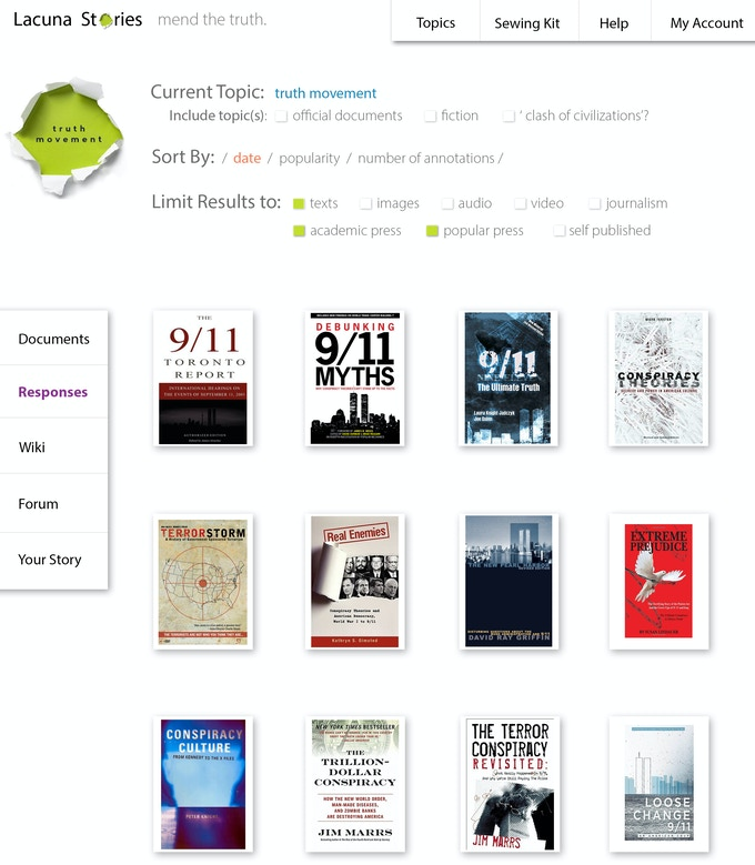 Photoshop mockup of the wide array of media and resources for 9/11 that can be searched and filtered to target your specific questions.
