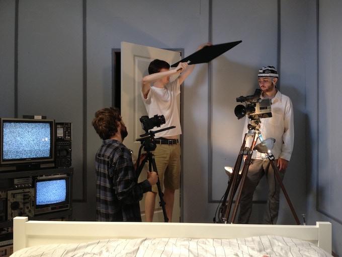 Actor Miles Joris-Peyrafitte, and Director of Photography Sam Cutler Kreuitz on set in Upstate New York