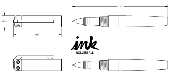 Ink Rollerball Pen-  1.4 ounces for aluminum grip section, 1.7 ounces for copper and brass, including refill.