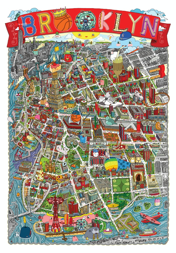 """""""Brooklyn illustrated map """" 24"""" x 36"""" completed design!"""