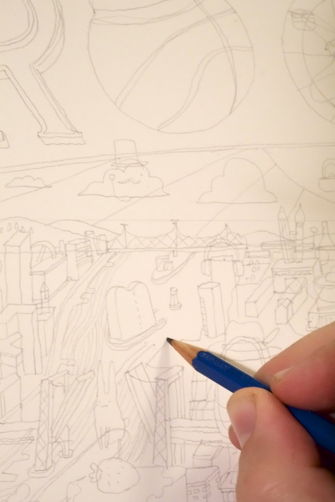 I started the design in pencil on really big paper!