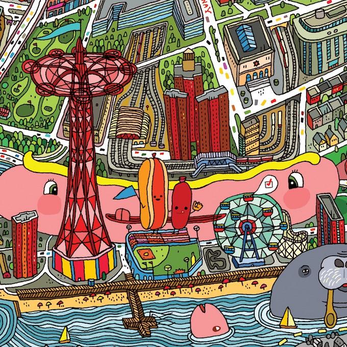 Coney Island detail.