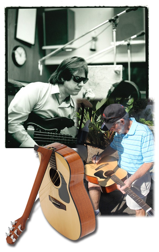 Traveling guitar by Voyage-Air Guitar signed by legendary writer Jerry Fuller (writer of Traveling Man) and bassist Joe Osborn who brought the song to Ricky Nelson