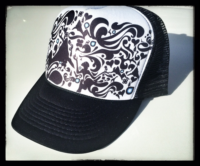 Trucker Hat Designed by Lynsey, comes in Black/ Pink and wht/Blk