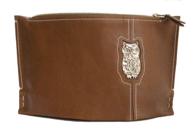 Small Chestnut Clutch with Owl