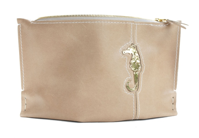 Small Latte Clutch with Seahorse
