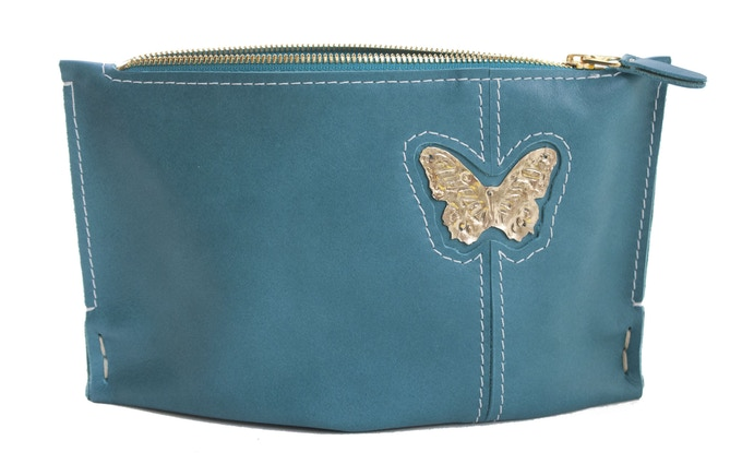 Small Aqua Clutch with Butterfly