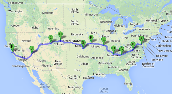 Drive Route in The United States