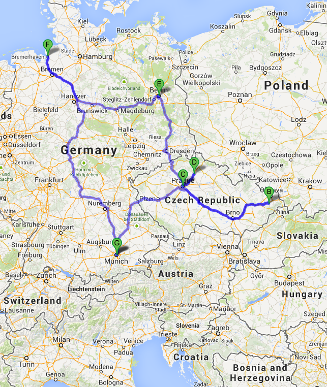 Possible Drive Route Through Europe