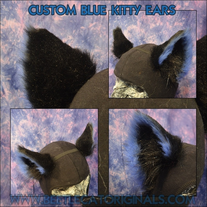Kitty ears in blue and black
