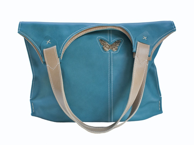 Aqua Tote with Butterfly