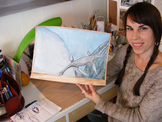 A sample of an underwater dino scene!  Artist -Glory Lawson
