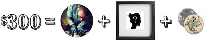Receive Rewards 6 and Rewards 7: A free tattoo by Alex Néron (approximately inner-palm size; for you OR a friend), a signed and custom framed commissioned stylized portrait by Alex Néron and your choice of a button! WOWZERS!