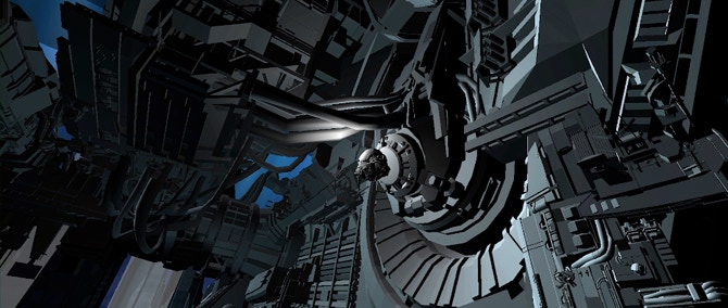 Womb Pod docking at space elevator base (early geometry)