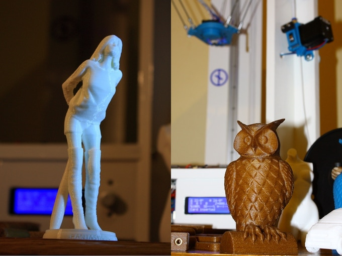 On the left: 'I told you to never call me babe' by Fantasygraph, printed in white PLA. On the right: Cushwa's owl in 'wood-like' PLA.