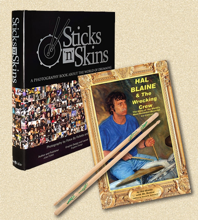 Sticks 'N' Skins Photography Book signed by Hal Blaine with set of Hal Blaine sticks and signed copy of The Wrecking Crew Book