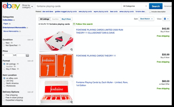 The only place left to find Red Fontaines is on eBay - that's the price PER deck! Crazy!!