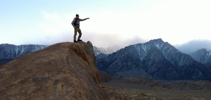 Ben exploring the terrain in the Alabama Hills of the Eastern Sierra.