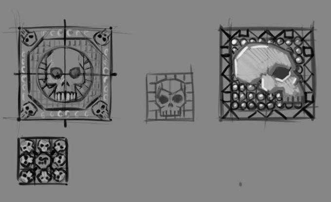 Preliminary Skull Tiles Sketches
