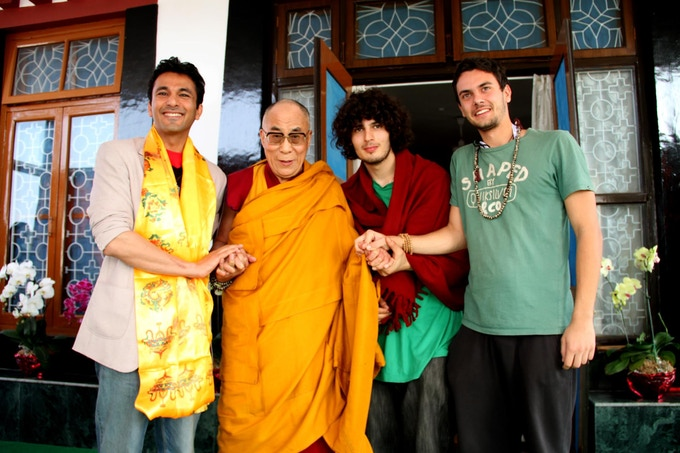 Right after we took H.H. the 14th Dalai Lama an interview. Vikas Khanna on the left, Antoni Krastev and Borislav Karamelski on the right.