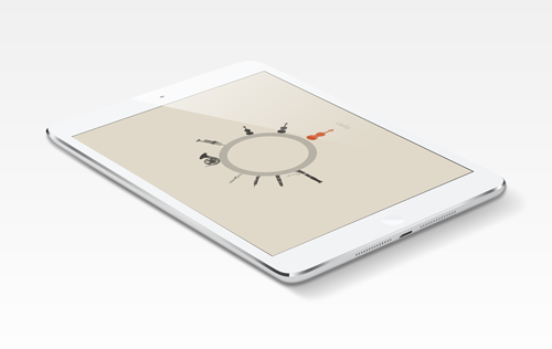 Prototype of Cadenza for iPad Mini, showing instrument selection screen