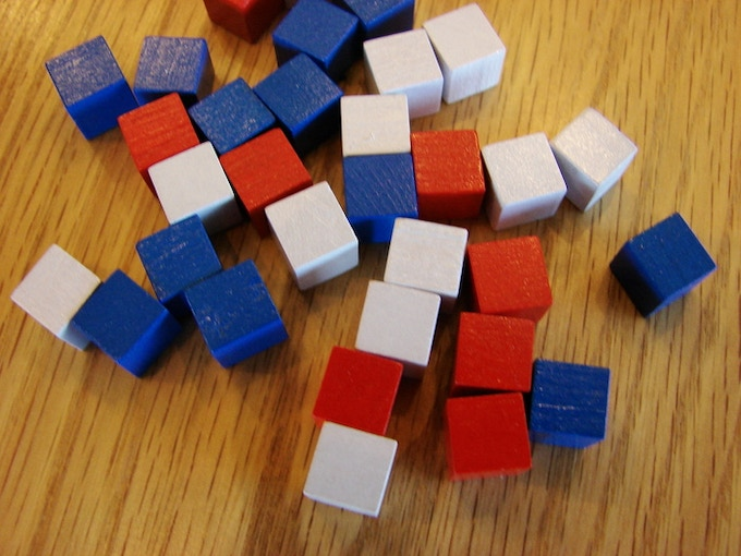 60 Red, white, and blue (20 each) 10mm cubes