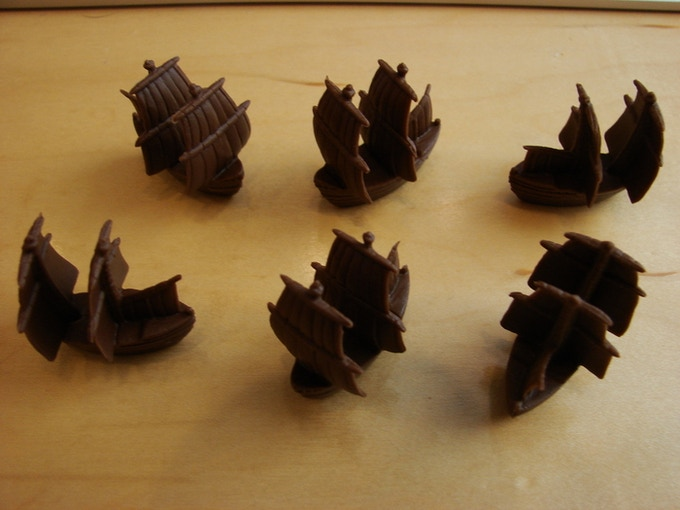 Six brown frigates from Francis Drake