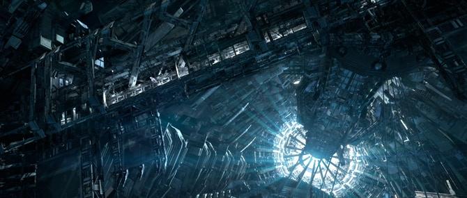 Elevator catwalk looking down to elevator reactor