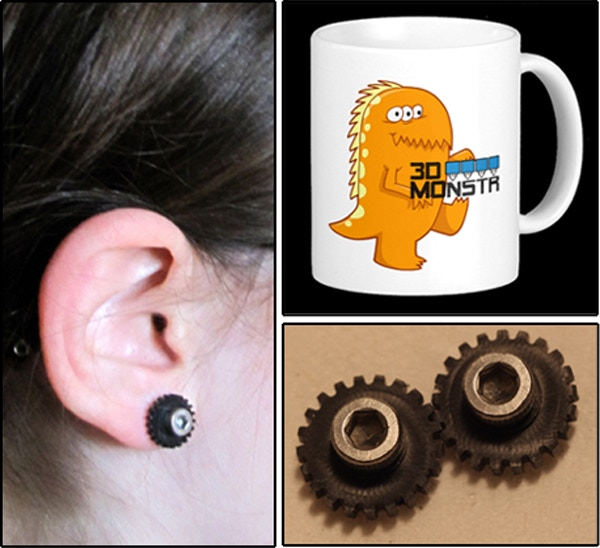 "Earrings: Actual size of each is 7/16"" diameter; gears were milled on our CNC machine. Coffee mug might look different than picture as it's still being designed. Coffee gift will contain 3-12 oz. 3DMonstr blend coffee packs, plus one awesome 3DMonstr mug."