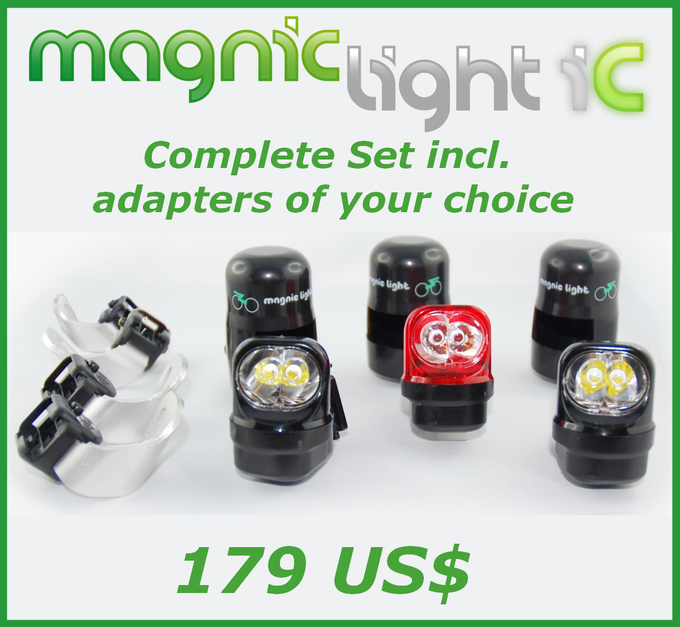 Get the Magnic Light iC complete set consisting of two front lights & one rear light with adapters of your choice (Vbrake system, caliper brakes, Magura brakes, disc brakes).