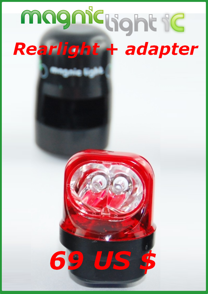 Get a Magnic Light rearlight with an adapter of your choice (Vbrake system, caliper brakes, Magura brakes, disc brakes).
