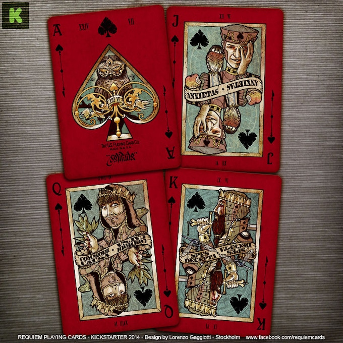 Spades: Ace (Solitudo), Jack (Anxietas), Queen (Commodi Causa), King (Spes Decepta)