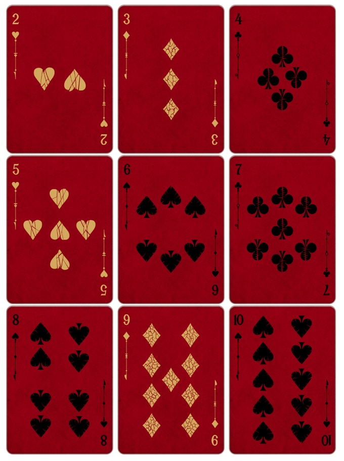 PIPS:  Hearts are broken - Clubs have thorns - Diamonds are cracked - Spades are dry leaves. NOTICE: all the pips are different from each other over the entire deck. (Check the cracks for example)