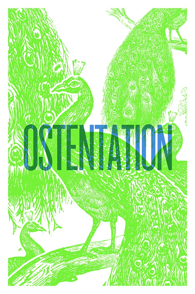 An Ostentation of Peacocks (poster/card design)