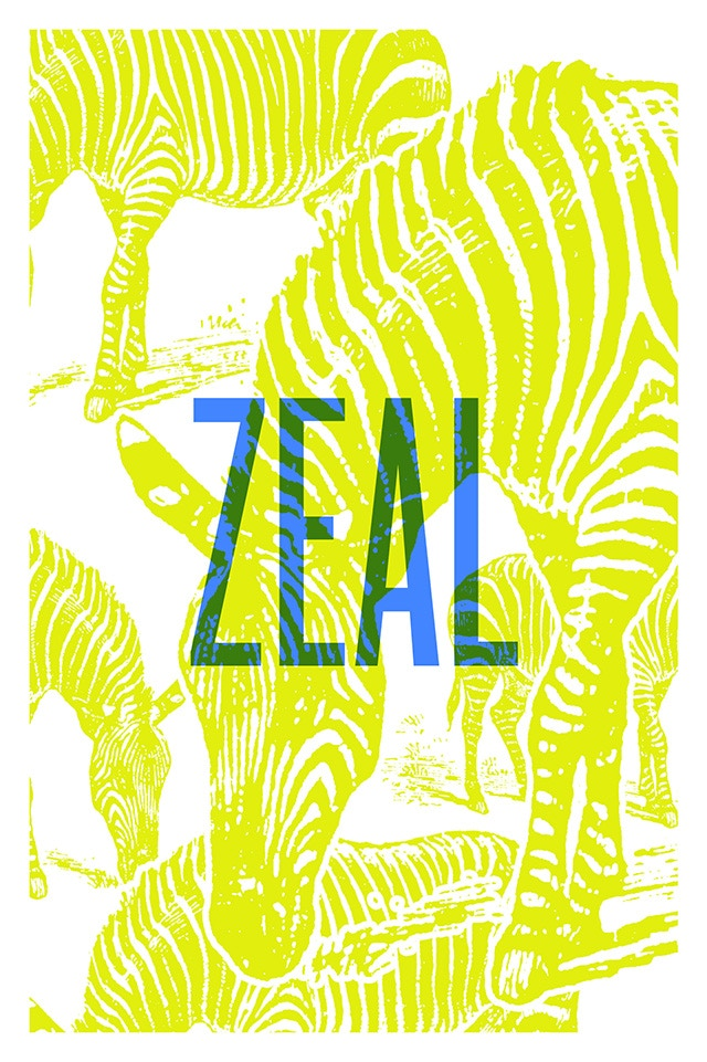A Zeal of Zebras (poster/card design)