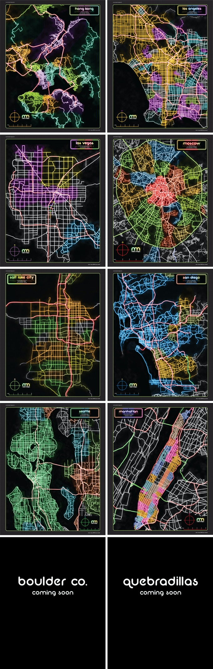 Neon maps colorful artistic poster prints by jay powell kickstarter some pretty neon maps its great to see how much a citys character you can get from just the roads jonathan roberts owner of fantasticmaps gumiabroncs Image collections